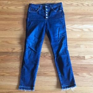 Veronica Beard High Rise Button Fly Skinny Jeans
